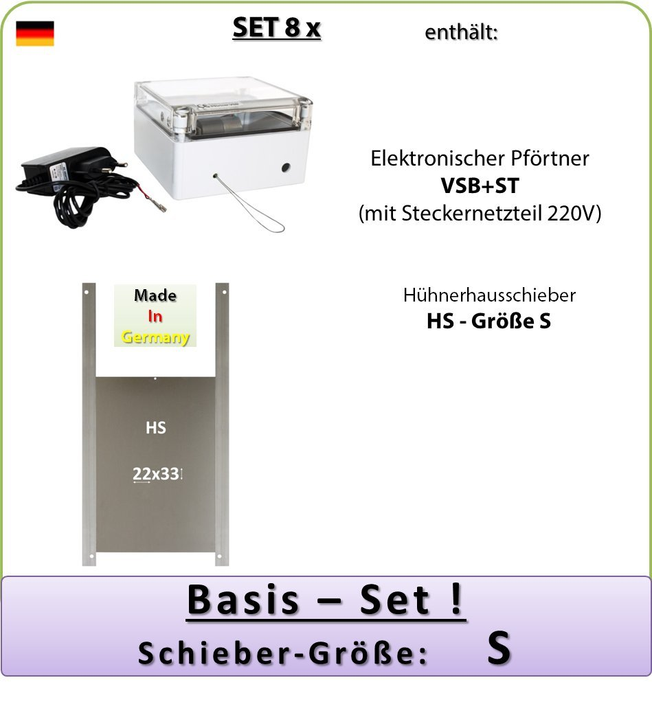 SET 8_x - Automatische Hühnerklappe mit Netzteil, Außenmontage, Hühnerklappe Größe S AXT-Electronic