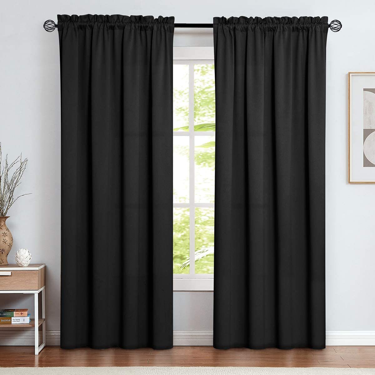 Amazon Com Vangao Rod Pocket Curtains Black 84 Inches Long Drapes For Living Room Darkening Moderate Blackout Window Treatment For Bedroom Triple Weave 2 Panels Kitchen Dining