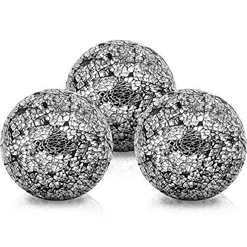 BELLE VOUS Bolas de Decoracion (3 Piezas) - Bolas de Cristal 10,1cm Brillante - Centro de Mesa Decorativo Mosaico Negro - Esfera Accesorio para Fiesta y Decoracion en el Hogar