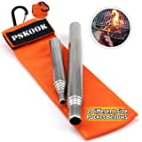 PSKOOK 2 Size Pack Pocket-Size Fire Bellows Collapsible Stainless Steel Fire Blower Pipe Builds Campfire Tool with Poly Carry