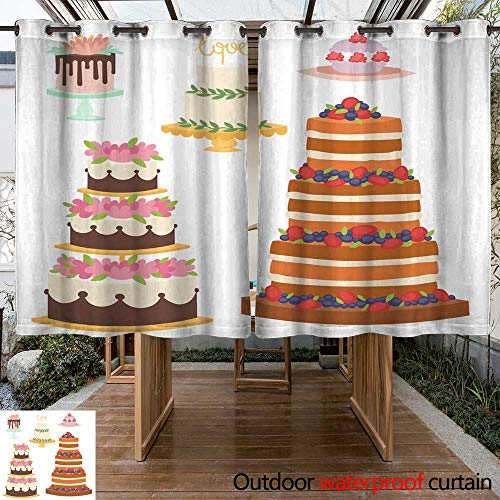 RenteriaDecor Outdoor Curtains for Patio Waterproof Wedding Cakes Fresh Tasty Dessert Sweet Pastry Pie Gourmet Homemade Delicious Cream Traditional Bakery Tart Vector Illus W63 x - Tart Pewter