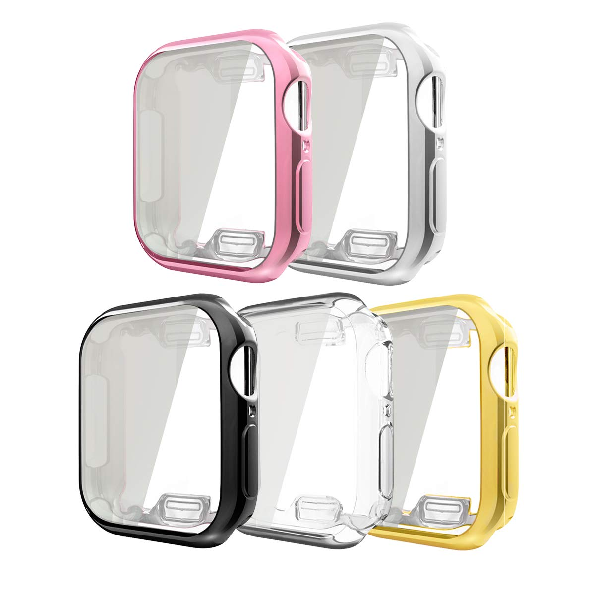 Compatible with Apple Watch 4 Case with Buit in TPU Screen Protector Series 4 44mm, 5 Pack All Around Protective Case Ultra-Thin Cover Compatible for Apple iwatch Series 4 44mm (5 Pack, 44mm)