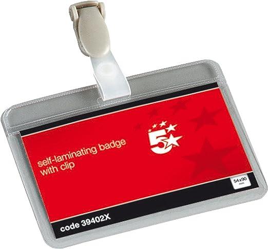 5 Star 39402X - Fundas con clip de plástico para tarjetas de identificación (54 x 90 mm, 25 unidades), transparente