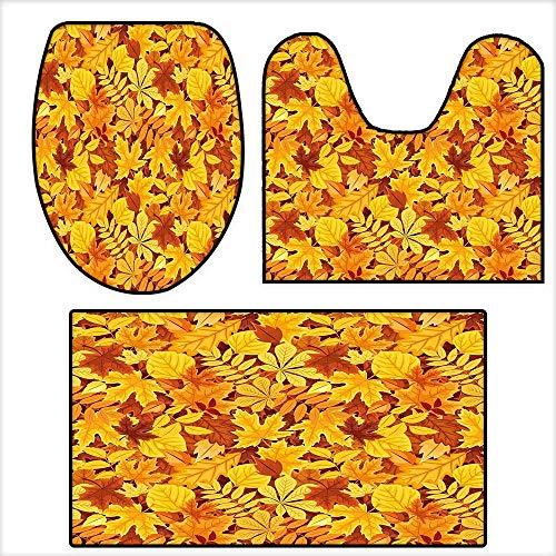 3-Piece Bathroom Mat Set Shady Fall Oak Maple Tree Leaves on Faded Tones Seasonal Foliage Artwork for Earth Yellow Marigold.Extra Soft Memory Foam Combo - Rug 15.7