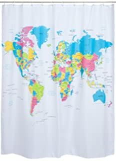 Union jack shower curtain 180cm high x 180cm wide amazon shower curtain with cards motif colorful world map design 180 x 180 cm gumiabroncs Gallery