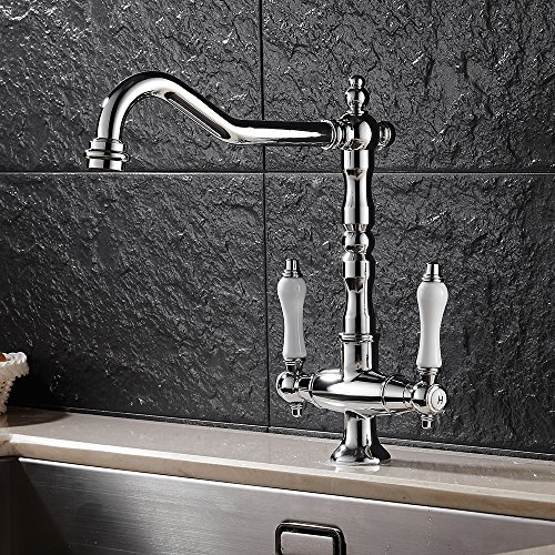 Fannybuy Victorian Kitchen Faucet Traditional Style Dual Handle Deck-Mount Kitchen Sink Faucet Brass (style - Deck Kitchen Style Mount