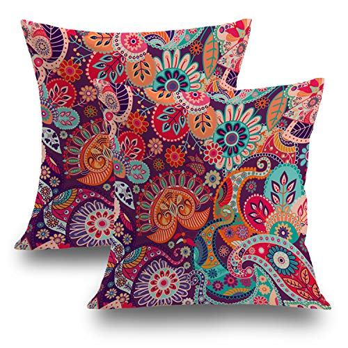 Shrahala Set of 2 Indian Ethnic Series Colorful Red Decorative Throw Pillow Cover Paisley Patchwork Floral Cushion Case for Sofa Bedroom Car Throw Pillow Case Cushion Cover 18