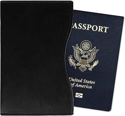 Etui Prot/ège Passeport en Cuir v/éritable Protection Voyage Noir Porte Passeport