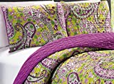 3-Piece QUEEN / FULL Printed Paisley / Solid Purple Green Reversible Bedspread Embossed Coverlet set Bed Cover