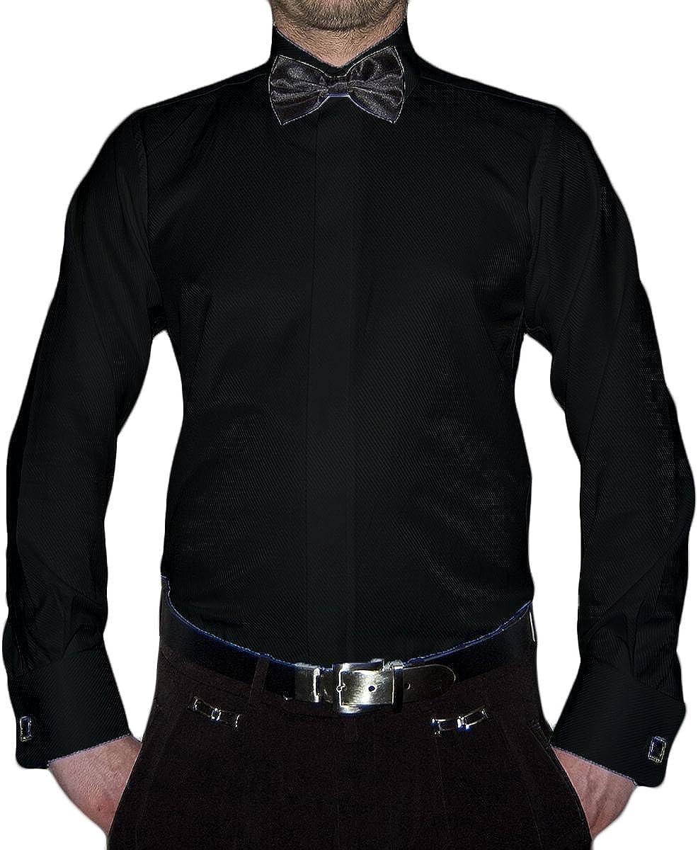 Slim Fit Camicia da Smoking Papillon Nero Diversi Colori Struttura New Kent Colletto a Maniche Lunghe