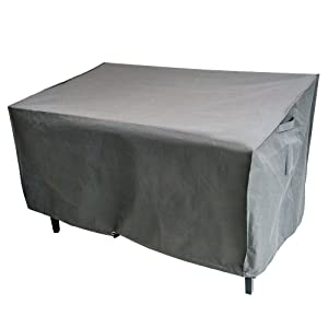 M&H Heavy Duty Waterproof Large Bench and Loveseat Patio Cover - Outdoor Furniture Cover with Padded Handles and Durable Hem Cord, Fits 2-Seat Bench, 58 x 33 x 32 inch, Taupe