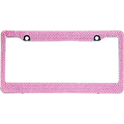 BLVD-LPF Light Pink Crystal Rhinestone License Plate ABS Chrome Frame with Crystal Screw Caps - 1 Frame: Automotive