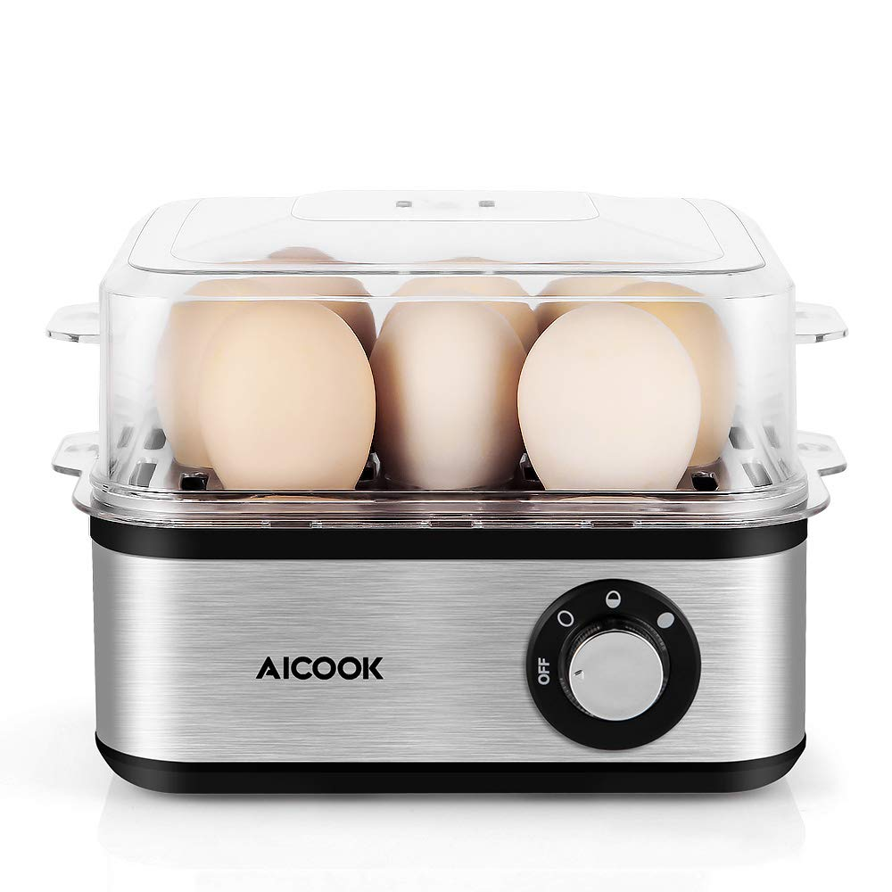 Rapid Egg Cooker Aicook Stainless Steel Egg Cooker, 8 Egg Capacity Electric Egg Maker for Soft, Medium, Hard Boiled Eggs with Auto Shut off and Poacher Attachment