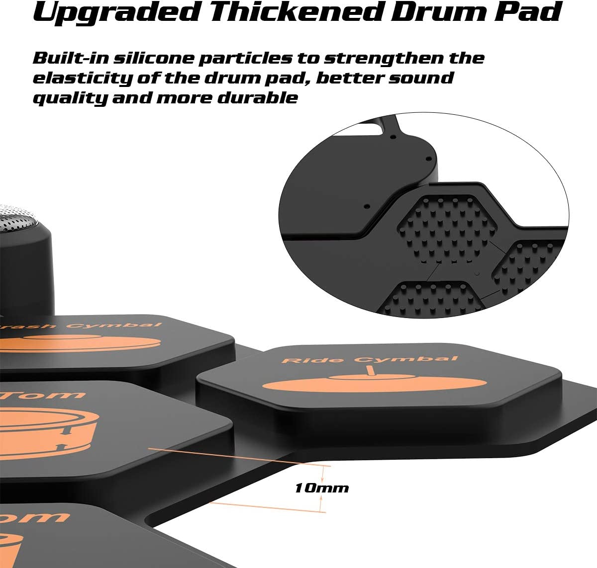 Electronic Drum Set Roll Up Drum Practice Pad Rechargeable Built in Dual 3W Speakers//Headphone//Drum Pedals//Drumsticks//Holiday Birthday Gift for Kids