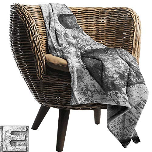 Blanket Custom Photo Letter F Ancient Primitive Featured Stone Age Letter Character Printing Influenced Artwork Bedding Throw, or Blanket Sheet 60