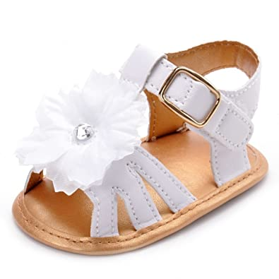Estamico, Sandales de fleur blanche Bébé fille, Chaussures d été pour bébés, a87b871c2beb
