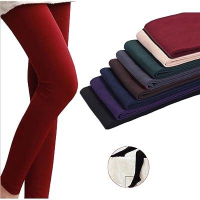 Fulok 8 Pack Womens Solid Multi Color Fleece Elastic Leggings Pants