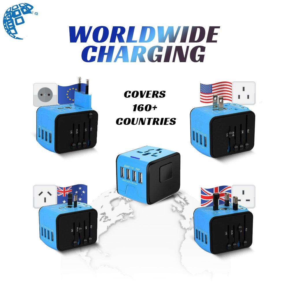Universal Travel Adapter, International All in One Multi-Nation Worldwide 4-USB Power Charger - Travel to USA Europe Asia and UK Great for iPhone/Smartphones / Laptops & More by Digimad (Image #2)