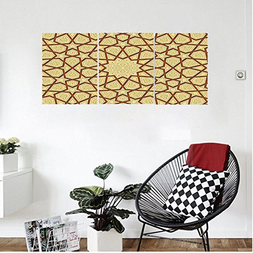 Liguo88 Custom canvas Antique Decor Wall Hanging Arabesque Star Shapes on Retro Design with Fractures Classic Islamic Eid Mosque Print Bedroom Living Room Decor Cream Brown by Liguo88