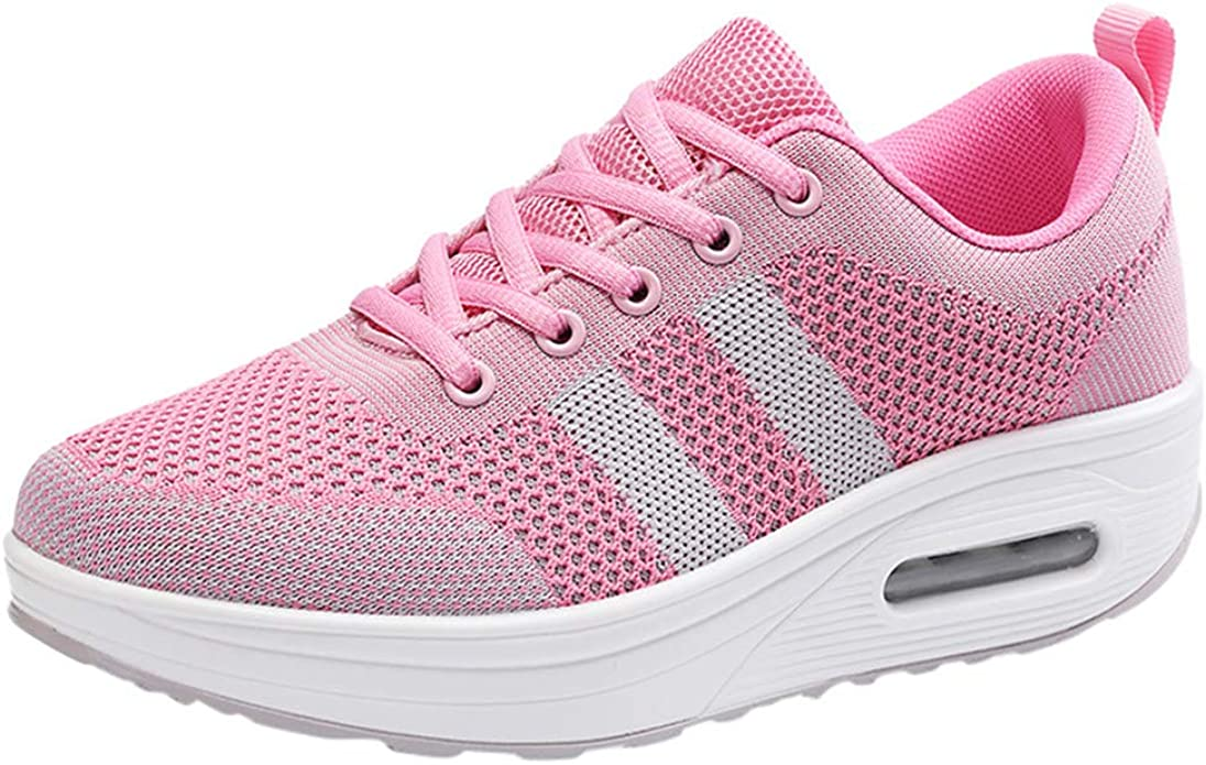 ALIKEEY - Zapatillas de Running para Mujer, Plataforma de Vibraciones, Zapato Entrelazado, Zapatilla Casual, Zapatillas, cojín de Aire, Zapatos, Color Rosa, Talla 36/37 EU: Amazon.es: Zapatos y complementos