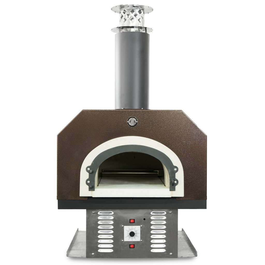 Chicago Brick Oven Natural Gas & Wood-Burning Commercial Outdoor Pizza Oven, CBO-750 Hybrid Countertop with Copper Vein Hood