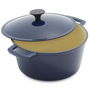 Sur La Table Lightweight Cast Iron Dutch Oven 25318, 5 qt, Blue