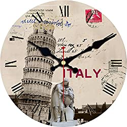 ShuaXin 16 Inch Vintage Italy Pisa Leaning Tower Design Silent Wooden Wall Clock Decorative Living Room and Office Wall Art Decorations Clocks (#04)