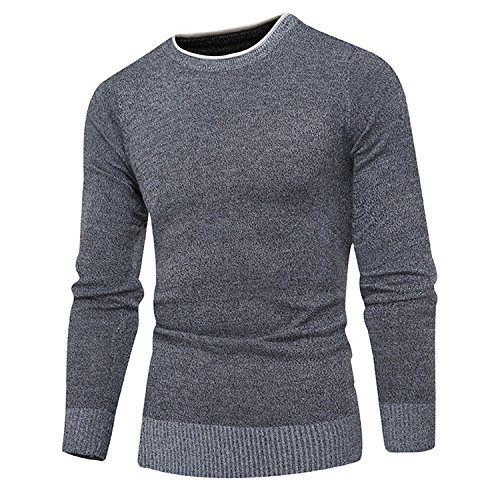 Kebinai Sweater Pullover Men Sweaters Men Solid Color Comfortable Hedging O-Neck Sweater XXXL (Large Renaissance Album)