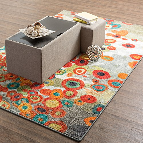 Mohawk Home Strata Tossed Floral Abstract Printed Area Rug, 5'x8', Multicolor - Outdoor Floral Rug