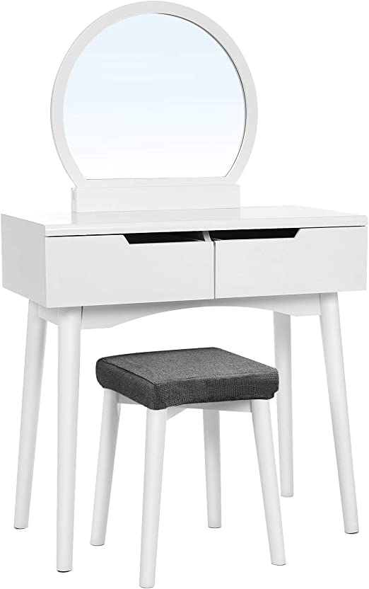 Amazon Com Vasagle Vanity Set Makeup Dressing Table With Round Mirror 2 Large Drawers With Sliding Rails Cushioned Stool White Urdt11w 31 1 2 L X 15 3 4 W X 51 3 8 H Home Kitchen