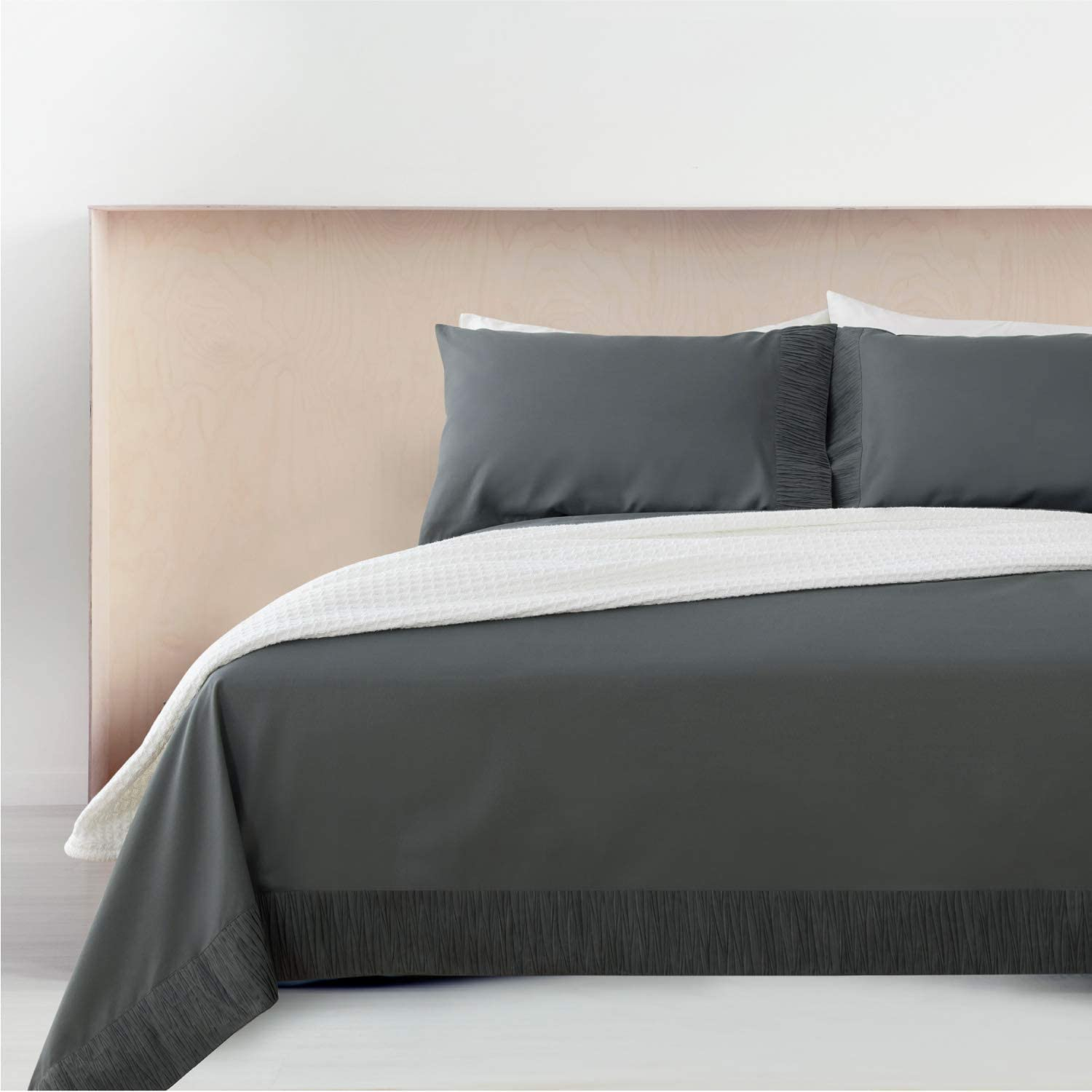 Bedsure Queen Bed Sheets Set Grey - Soft 1800 Bedding Microfiber Sheets for Queen Size Bed - Wrinkle, Fade, Stain Resistant - 4 Pieces