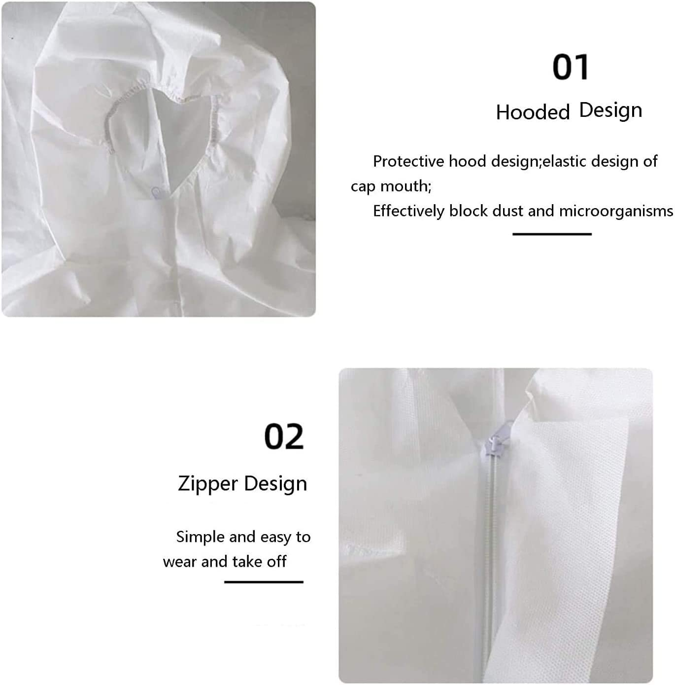 Disposable Protective Overall Coverall Suit,Light Duty 1 Pack M Size White