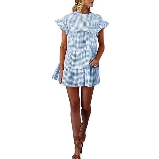 1ecb3a753d7d4 Dresses for Women Short Sleeve Casual Ruffle Plaid Print Pleated Mini Dress  (S, Blue