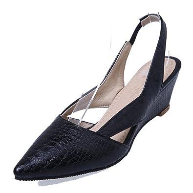 4647c4af51ce Aisun Women s Cutout Sexy Pointed Closed Toe Medium Heels Elastic Wedge  Slingback Sandals (Black