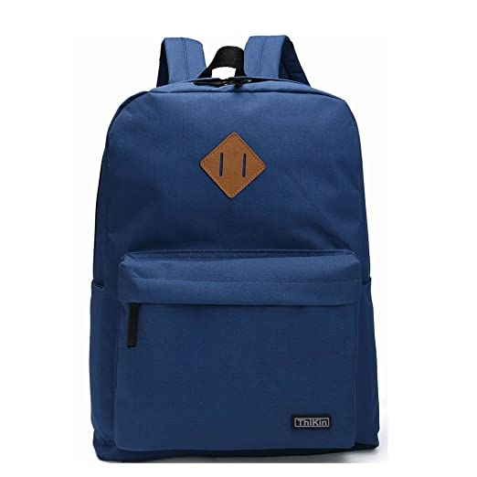 4f37a3978ffe ThiKin Blue Bookbag Basic Backpack Casual Light Rucksacks Outdoor Travel Bag