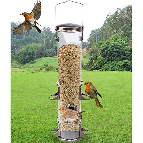 Wgwioo Alimentador De Tubo Alimentador De Aves Silvestres con 6 Puertos De Alimentación, A Prueba De Ardilla, para Atraer...