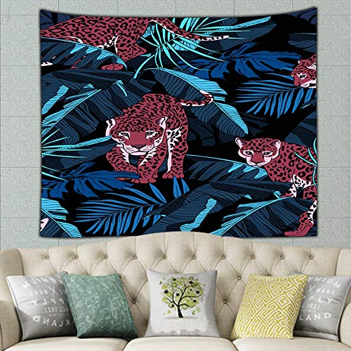 ong8 Jaguars Tropical Banana Exotic Animals Wildlife Africa Hippie Tapestry Wall Art for Living Room Bedroom Dorm Decor 50ʺ × 60ʺ
