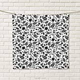smallbeefly Leaves Hand Towel Autumn Season in The Woods Themed Monochrome Pattern Deciduous Trees Maple Oak Quick-Dry Towels Black White Size: W 20'' x L 21''