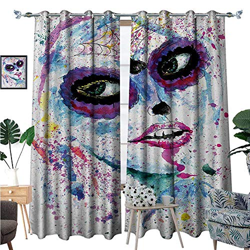 Girls Window Curtain Fabric Grunge Halloween Lady with Sugar Skull Make Up Creepy Dead Face Gothic Woman Artsy Drapes for Living Room W72 x L108 Blue Purple -