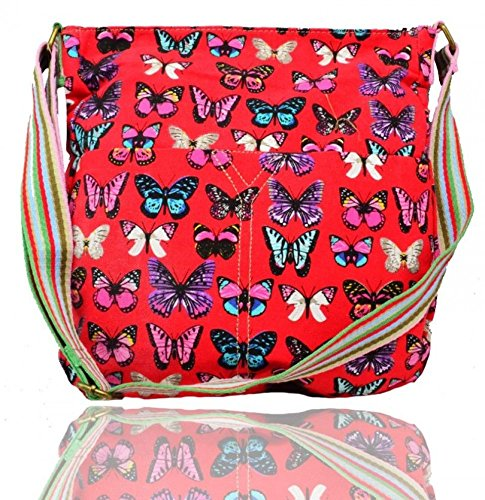 LeahWard Frauen Stofftier Druck Kreuz Körper Beutel Mädchen Kuriertaschen Handtaschen Taschen für Urlaub CW13001 (Grau Eule2) Rot Schmetterling