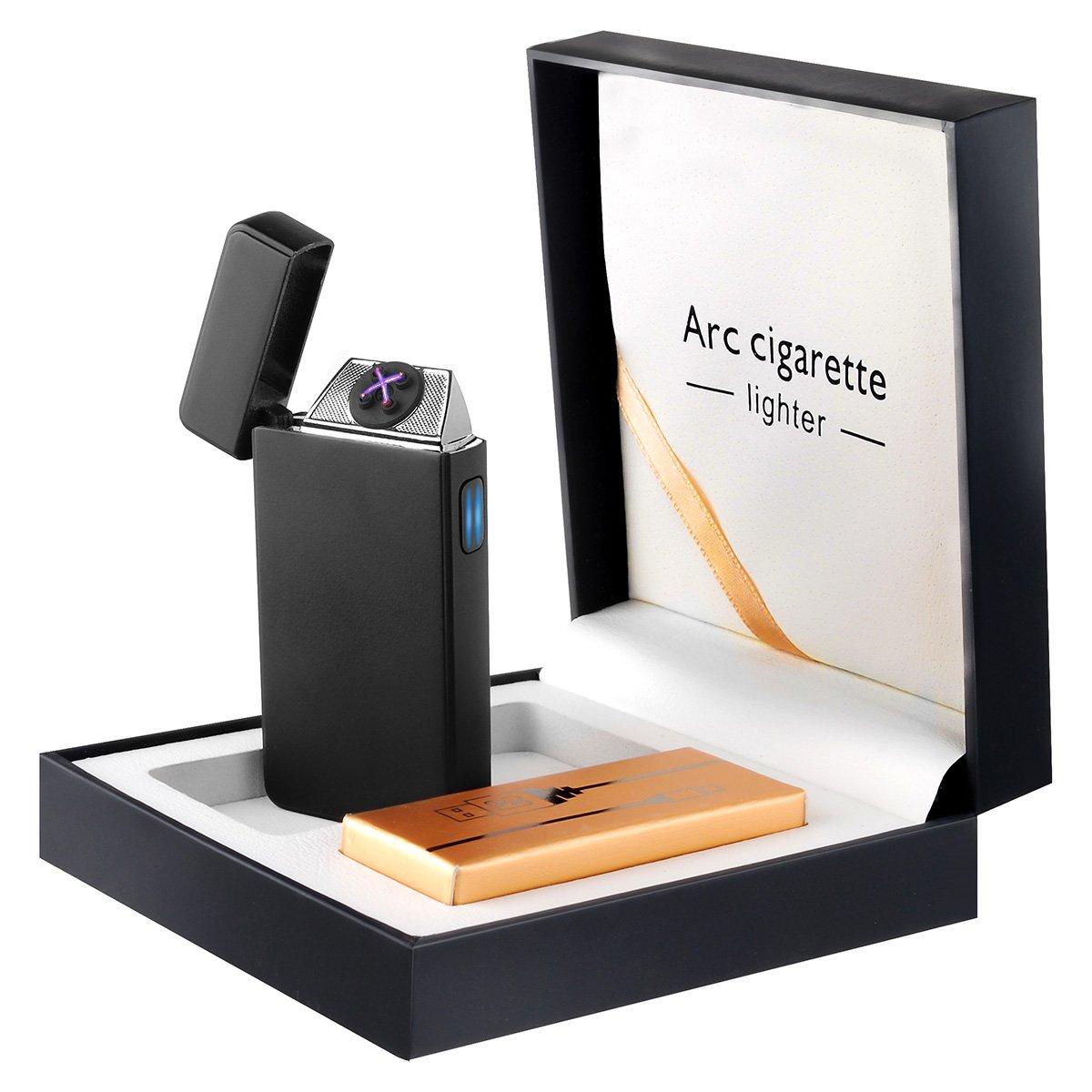 Facetoworld Accendino Elettrico, USB Ricaricabile a Doppio Arco Ricarica Veloce per Sigaretta, Cucina, Barbecue, Camino, Campeggio, Candela, Antivento Ricaricabile con Cavo USB Piccolo e Tascabile