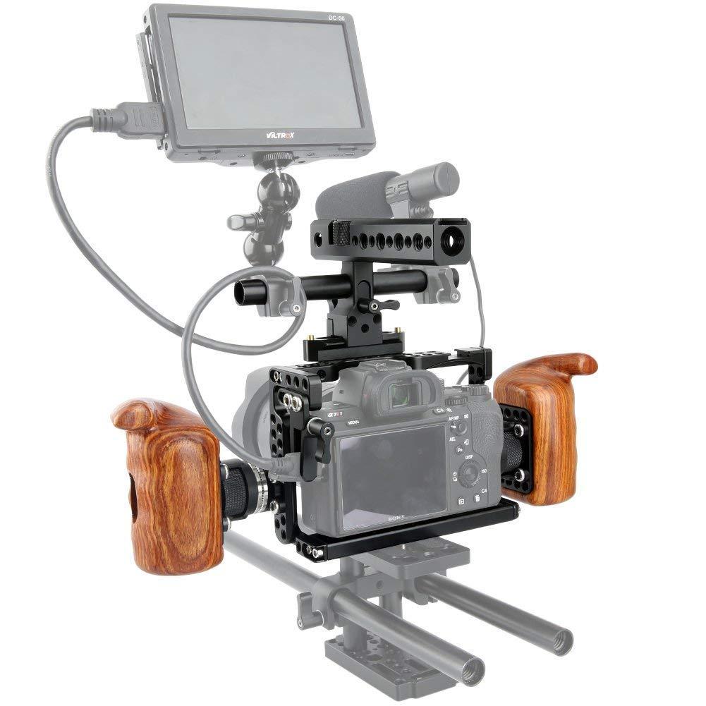 NICEYRIG Kit de Jaula Cage para c/ámara con Mango de la OTAN Arri est/ándar Rosette de Madera para Sony A7RIII//A7MIII//A7III//A7RII//A7SII//A7II c/ámara