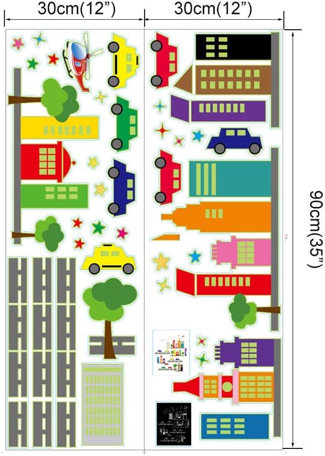 ufengke Stickers Muraux Fluorescent Ville Autocollants Mural Voitures B/âtiments Lumineux pour Chambre Enfant D/écoration Murale