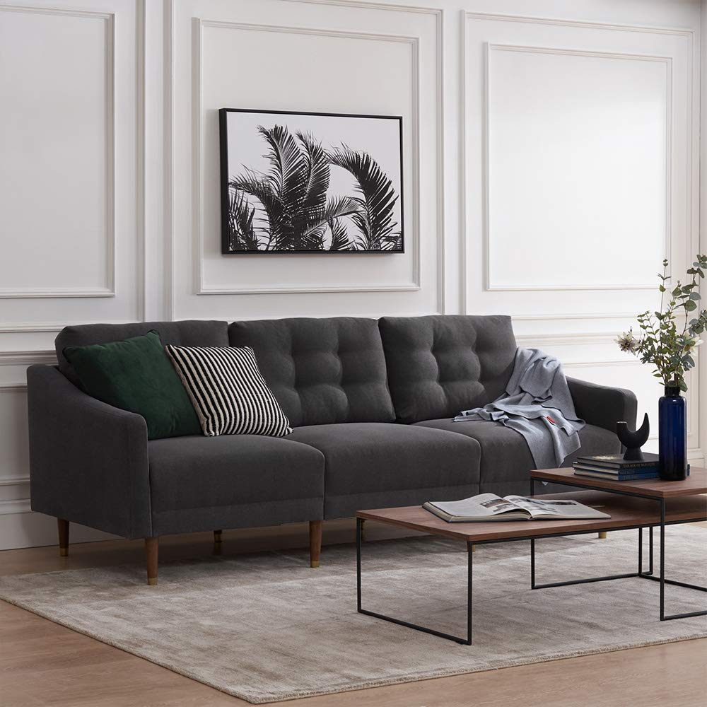 Mopio Savannah Mid-Century Modern Couch, Fabric Upholstered Sofa with Tufted Back and Tapered Gold Caps Legs, 81.5'' W, Dark Gray by AsianiCandy