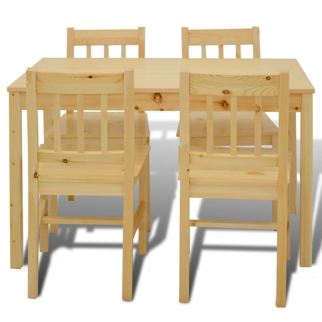 K Top Deal 5 Piece Kitchen Dining Set Pine Wood, Kitchen Dining Furniture Table and 4 Chairs, Brown