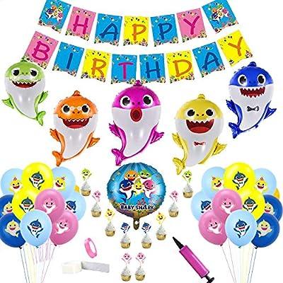 Clerfy Acc Tiburón Joven y Arco Iris Globo de Cumpleaños Kit-de Fiesta de Cumpleaños Feliz Suministros con Globos de Unicornio Banner de Cumpleaños de ...