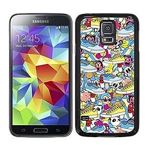 Funda carcasa para Samsung Galaxy S5 estampado sticker bomb zapatillas borde negro