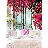 """Oil Painting About The Blue Door With The Beautiful Flowers Wall Hanging Tapestry Fabric Wallpaper Home Decor,60""""x 80"""",Twin Size"""
