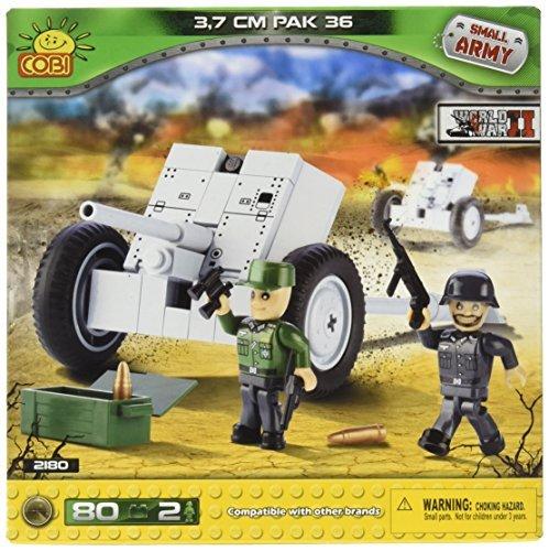 Small Army 2180, WW II German cannon Pak 36 3,7 cm. Anklopf, 80 building bricks by Cobi by Small - Cannon Pak