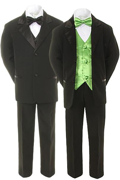 Amazon.com: unotux 7pc Boys trajes de esmoquin negro con ...